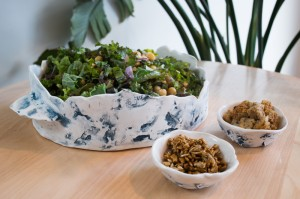 Kale caesar with sunflower seed bacon